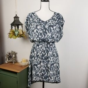 Express Dress Cap Sleeves Ikat Print V-Neck Sz S